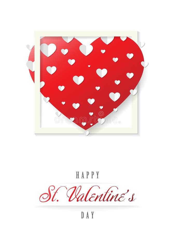 Carte de voeux de valentines avec un grand coeur rouge, vecteur illustration de vecteur