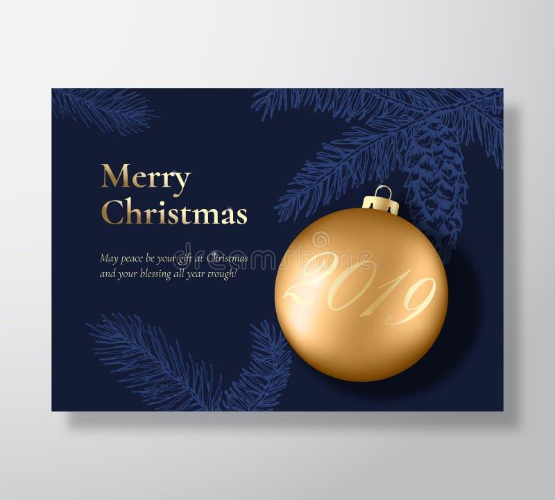 Carte de voeux de vecteur d'abrégé sur Joyeux Noël, affiche ou fond de vacances Couleurs chiques de bleu et d'or, scintillement e illustration de vecteur