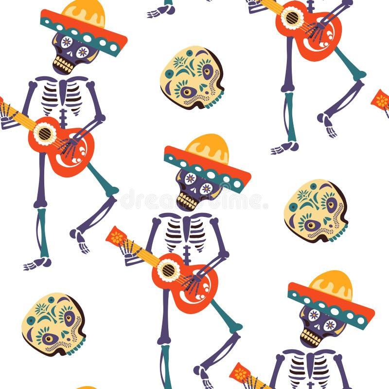 Carte de voeux de vecteur de Dia de los Muertos pour le modèle sans couture de vacances traditionnelles mexicaines illustration stock