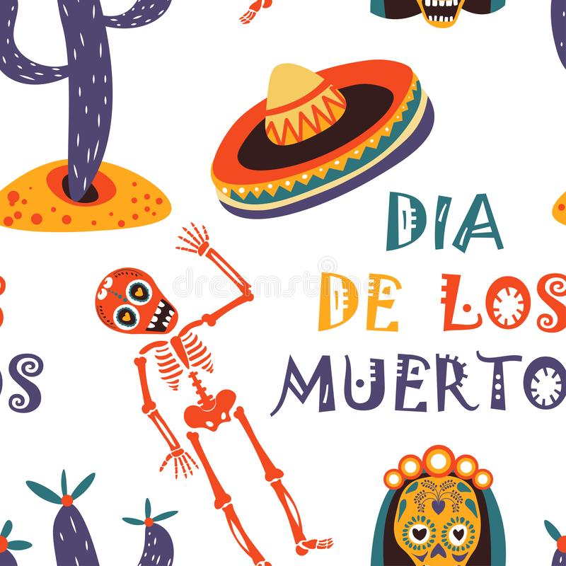 Carte de voeux de vecteur de Dia de los Muertos pour le modèle sans couture de vacances traditionnelles mexicaines illustration libre de droits