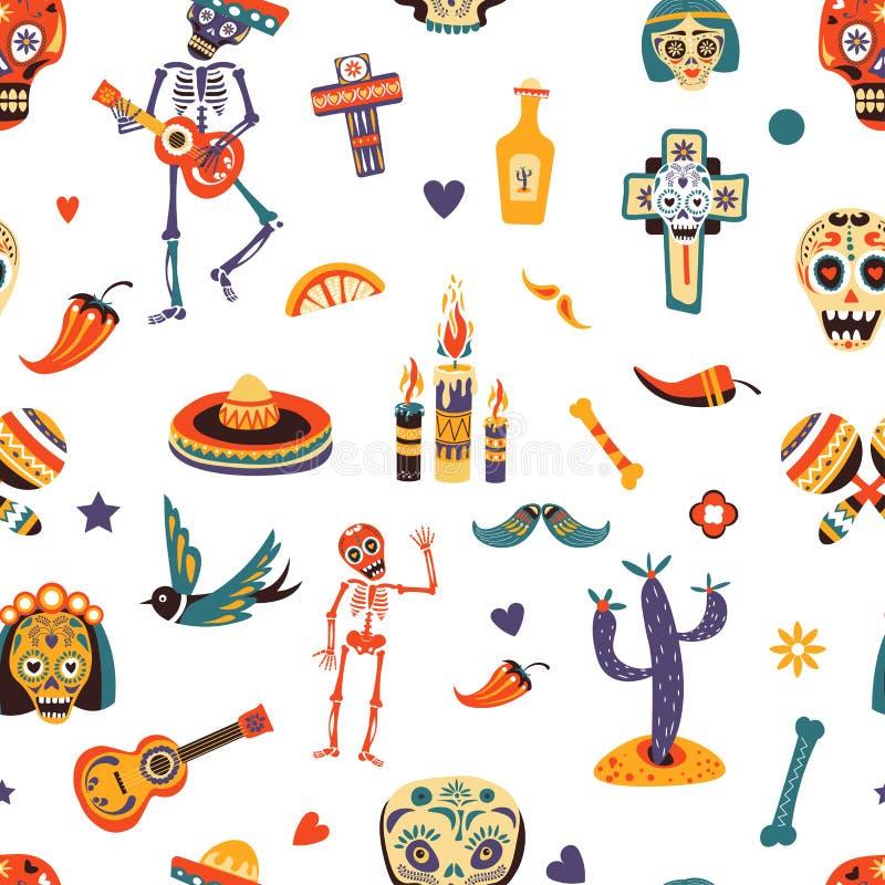 Carte de voeux de vecteur de Dia de los Muertos pour le modèle sans couture de vacances traditionnelles mexicaines illustration de vecteur