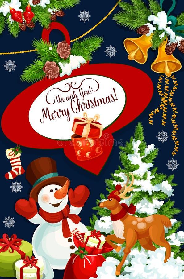 Carte de voeux de vecteur de vacances de Joyeux Noël illustration libre de droits