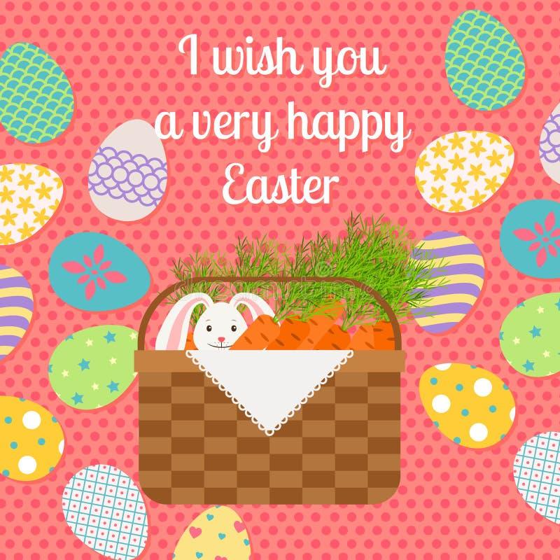 Carte de voeux verticale rose heureuse de Pâques illustration stock