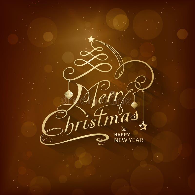 Carte de voeux vieille de Joyeux Noël illustration libre de droits