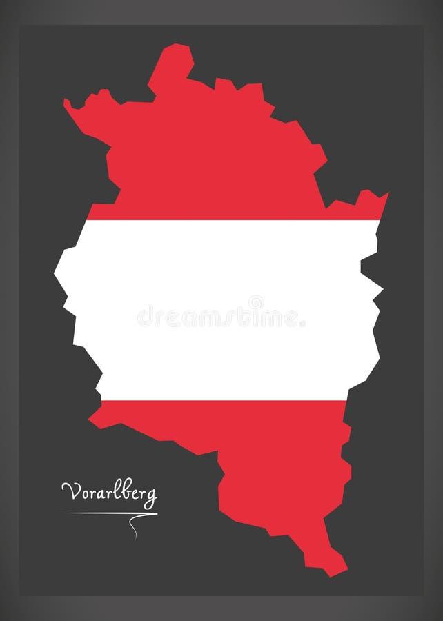 Carte de Vorarlberg de l'Autriche avec l'illustrati autrichien de drapeau national illustration de vecteur