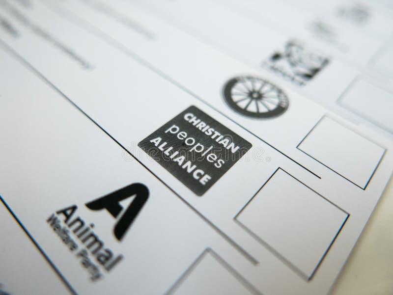 Carte de vote avec le logo de Christian Peoples Alliance photo libre de droits