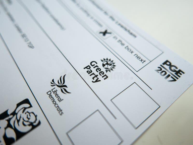 Carte de vote avec le logo de Parti Vert photo stock