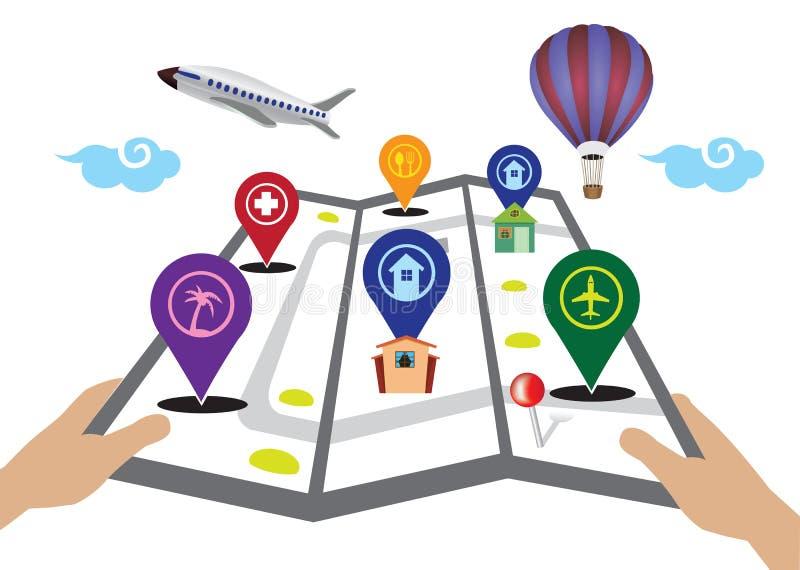 Carte de voyage avec l'illustration de vecteur d'icônes de marqueurs illustration de vecteur