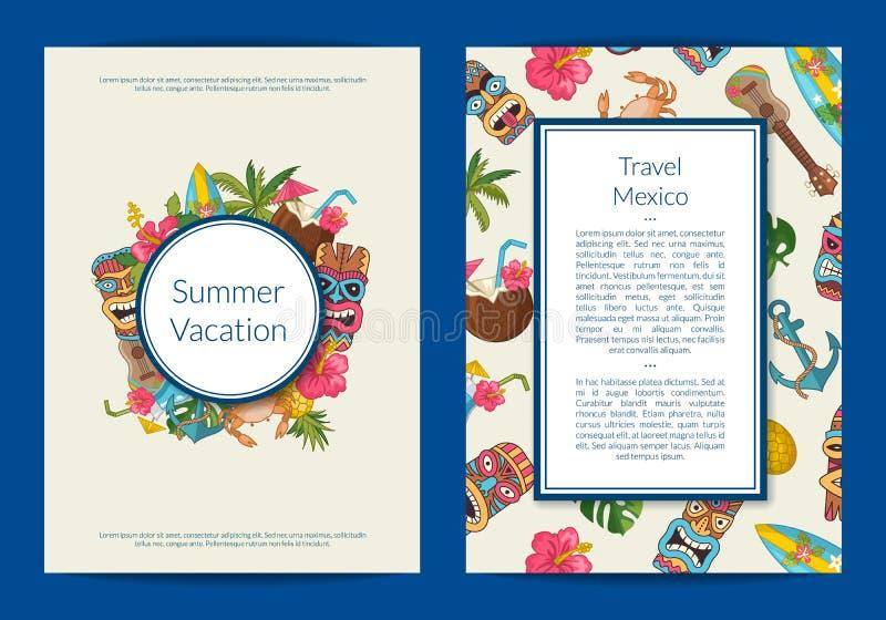 Carte de voyage d'été de bande dessinée de vecteur ou illustration d'insecte illustration stock