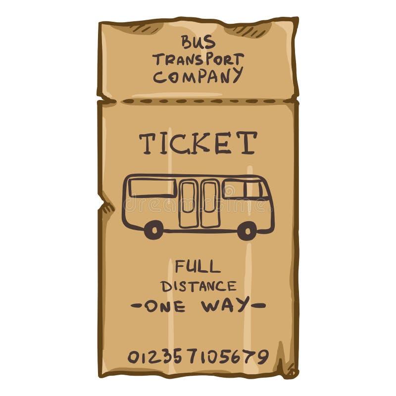 Carte de voyage d'autobus de Brown de bande dessinée de vecteur Billet de transport en commun illustration de vecteur