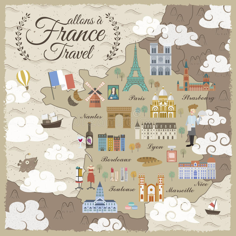 Carte de voyage de Frances illustration libre de droits