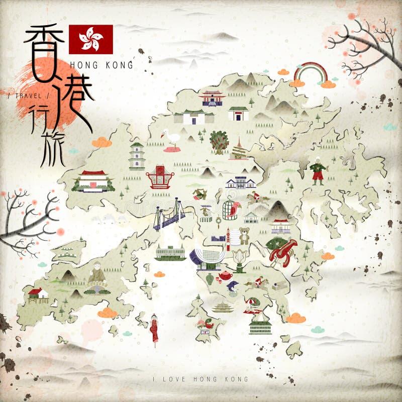 Carte de voyage de Hong Kong illustration stock