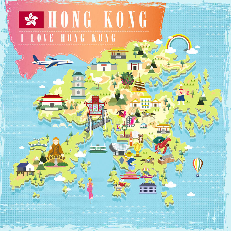 Carte de voyage de Hong Kong illustration libre de droits