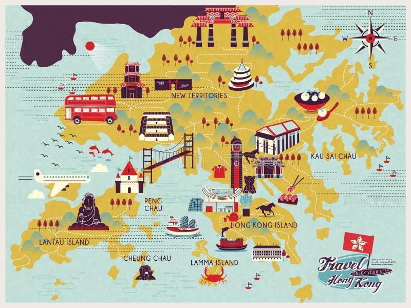 Carte de voyage de Hong Kong illustration de vecteur
