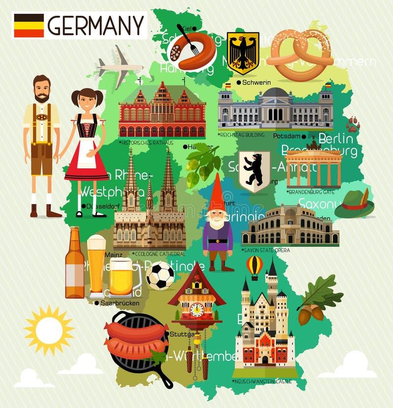 Carte de voyage de l'Allemagne illustration libre de droits