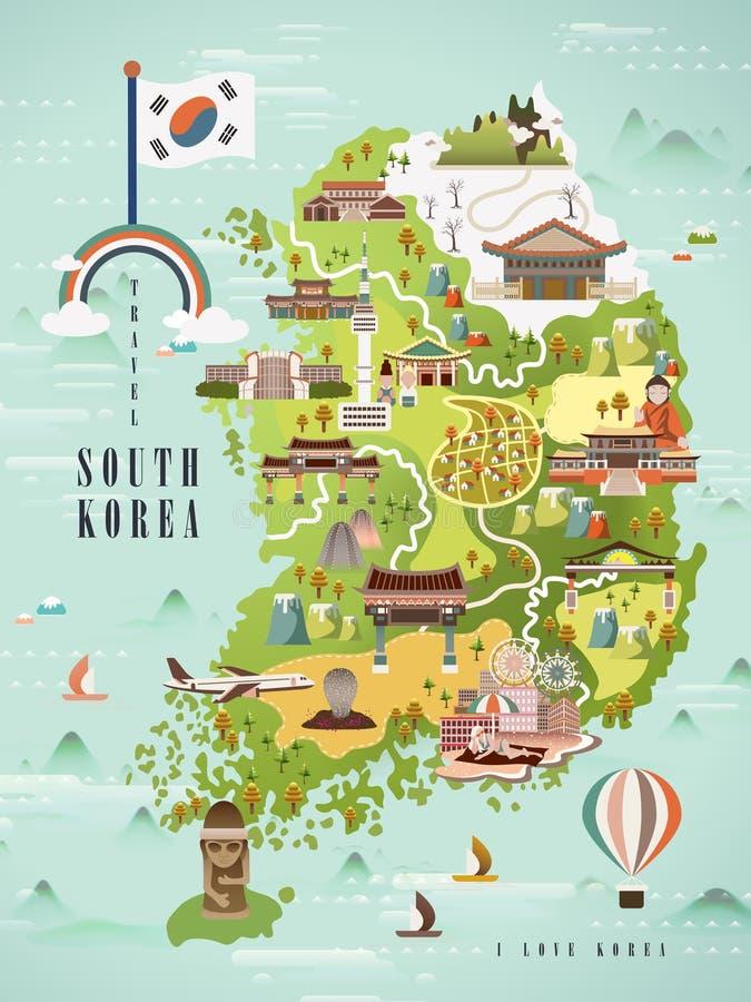 Carte de voyage de la Corée du Sud illustration de vecteur