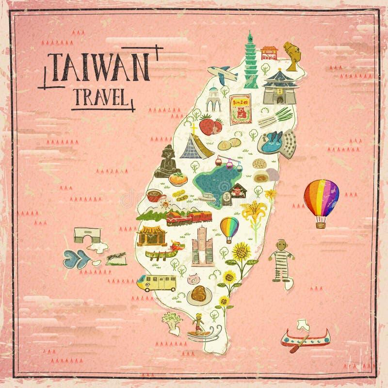 Carte de voyage de Taïwan illustration de vecteur