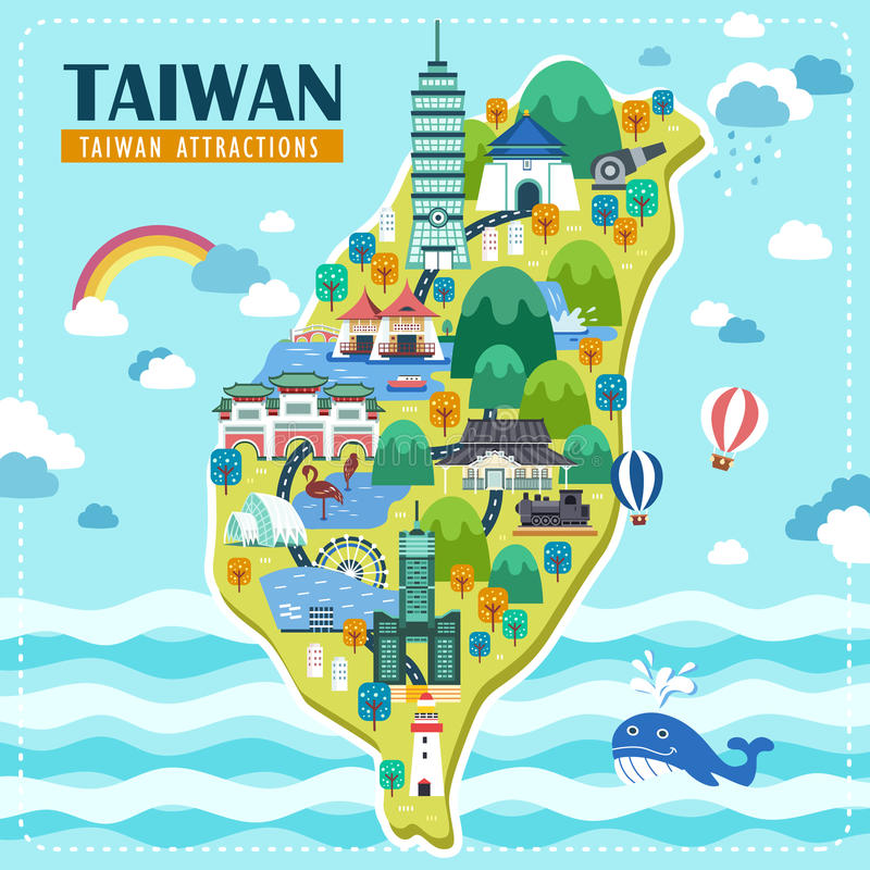 Carte de voyage de Taïwan illustration libre de droits
