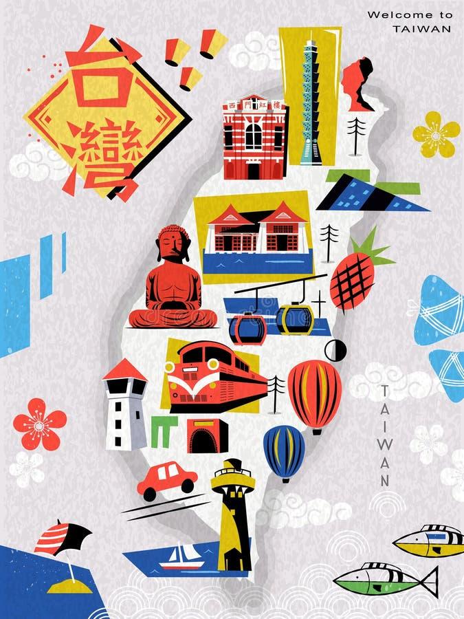 Carte de voyage de Taïwan illustration stock