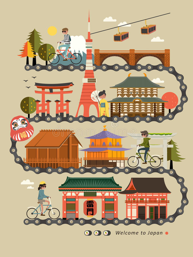 Carte de voyage de vélo du Japon illustration de vecteur