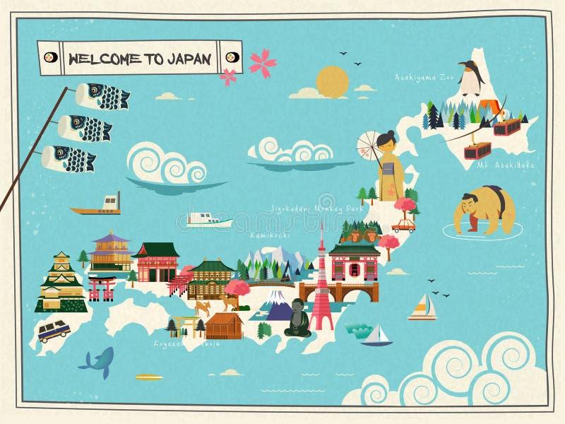 Carte de voyage du Japon illustration libre de droits