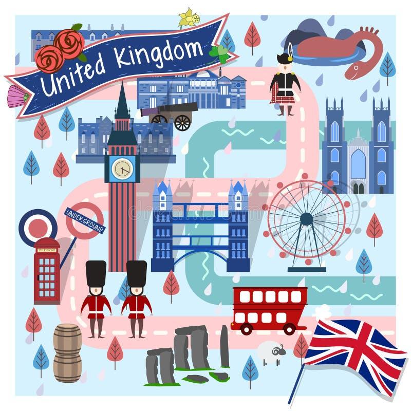 Carte de voyage du Royaume-Uni illustration de vecteur