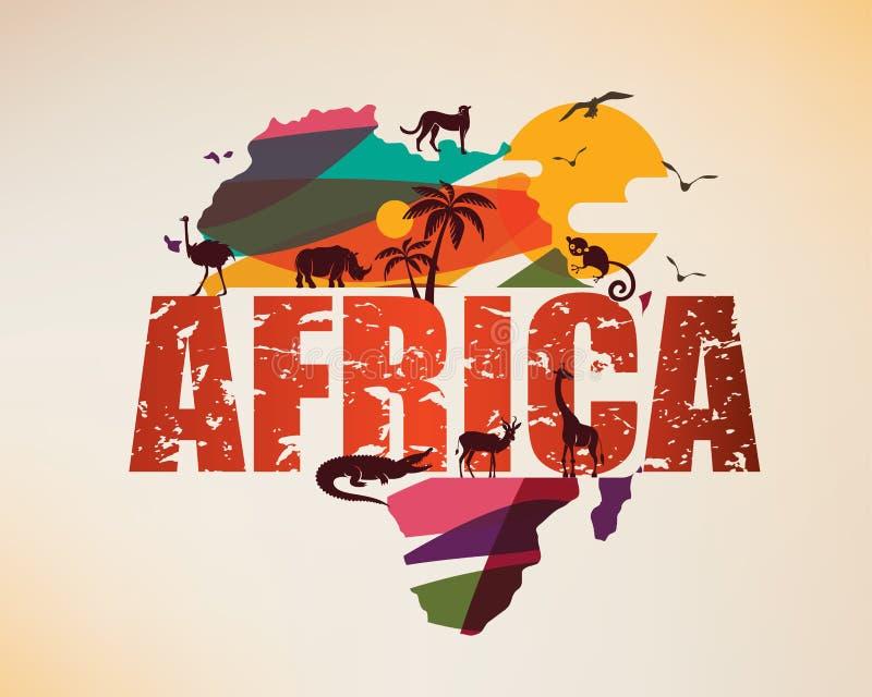 Carte de voyage de l'Afrique, symbole décoratif de l'Afrique illustration stock