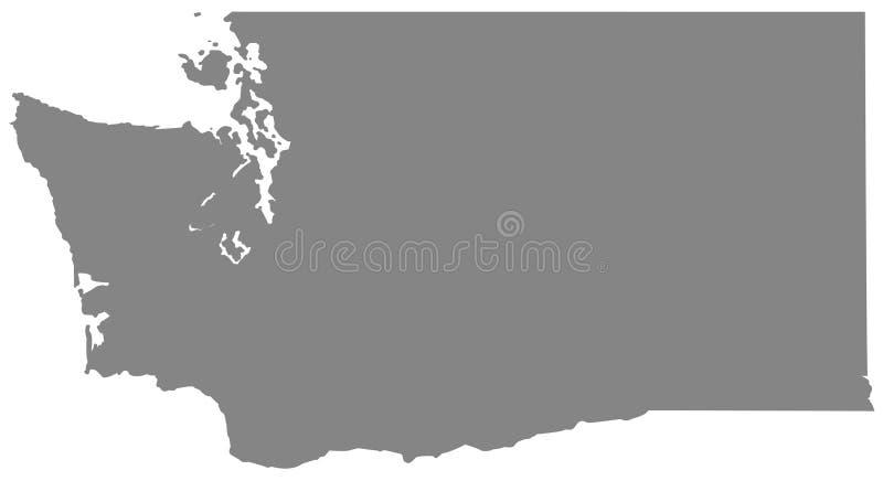 Carte de Washington State - état dans la région du nord-ouest Pacifique des Etats-Unis illustration de vecteur