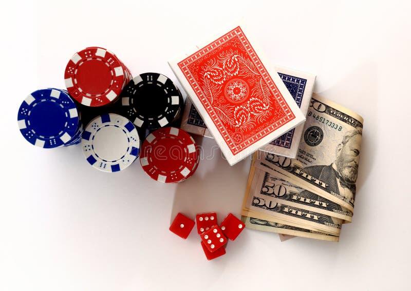 Carte dei dadi dei chip dei soldi da sopra fotografia stock