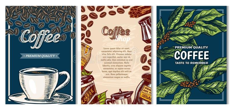 Carte del caffè nello stile d'annata Manifesto inciso disegnato a mano, retro schizzo di scarabocchio su fondo scuro Foglie e taz illustrazione di stock