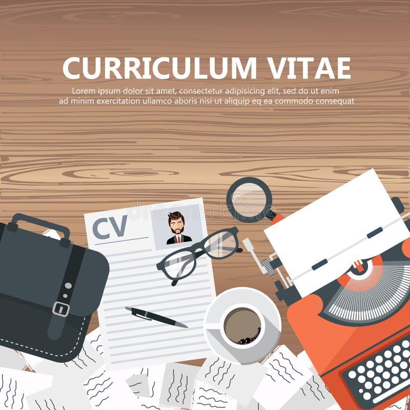 Carte del cv sullo scrittorio con la cima del rivestimento, borsa, carte caffè, vetri, penna, documento e lente d'ingrandimento illustrazione vettoriale
