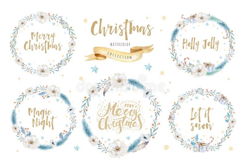 Carte dell'acquerello di Buon Natale con gli elementi floreali Manifesti dell'iscrizione del buon anno Fiore e ramo di natale di  illustrazione di stock