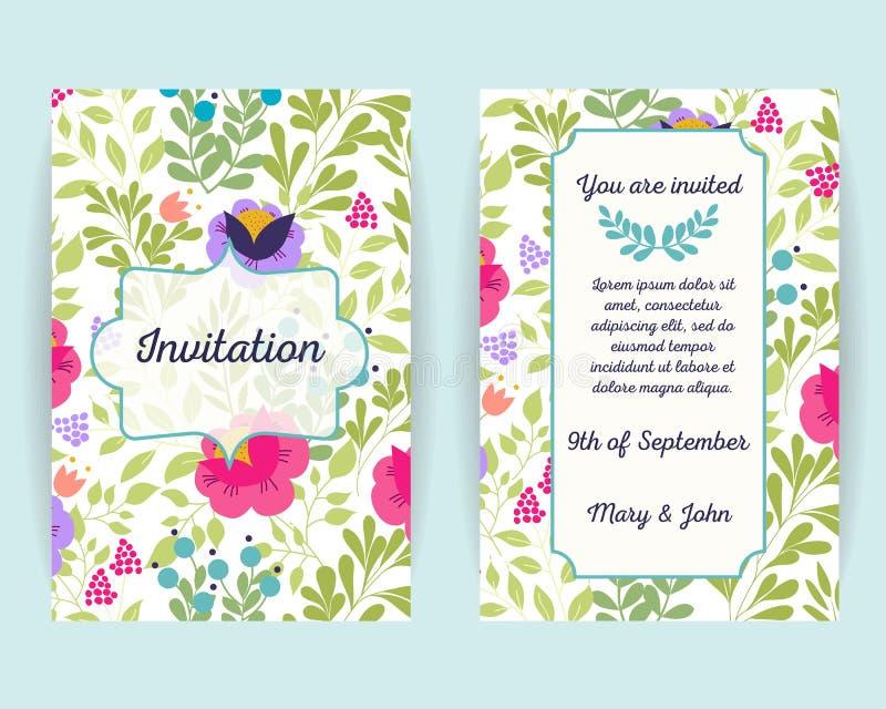 Carte dell'invito di nozze con i fiori, le bacche e le foglie Uso per il passaggio di imbarco, inviti, grazie cardare Vettore illustrazione di stock
