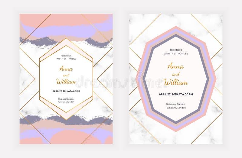 Carte dell'invito di nozze con il rosa, colpo blu della pittura della spazzola, linee dorate, progettazione geometrica, struttura illustrazione vettoriale