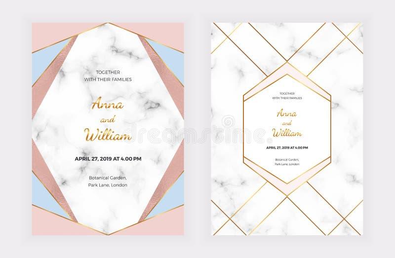 Carte dell'invito di nozze con il rosa, la progettazione geometrica blu, le linee dorate, la stagnola e la struttura di marmo Fon royalty illustrazione gratis