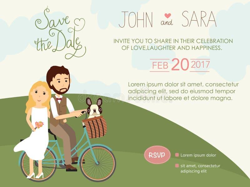 Carte dell'invito di nozze con la sposa e sposo ed il loro cane del carlino illustrazione di stock