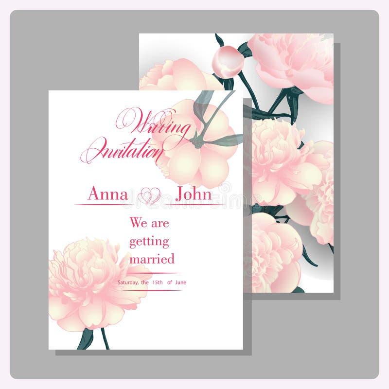 Carte dell'invito di nozze con le peonie di fioritura Uso per il passaggio di imbarco, inviti, grazie cardare Vettore illustrazione di stock