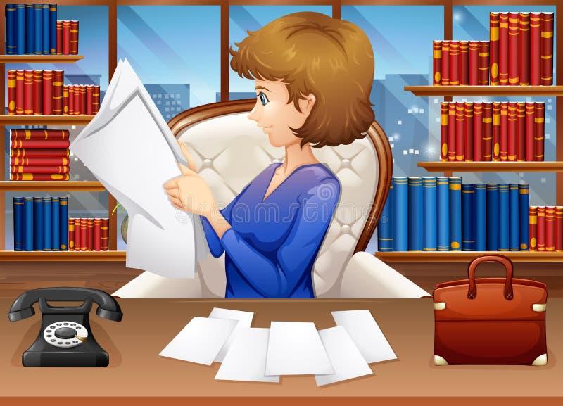 Carte della lettura della donna di affari in ufficio illustrazione di stock