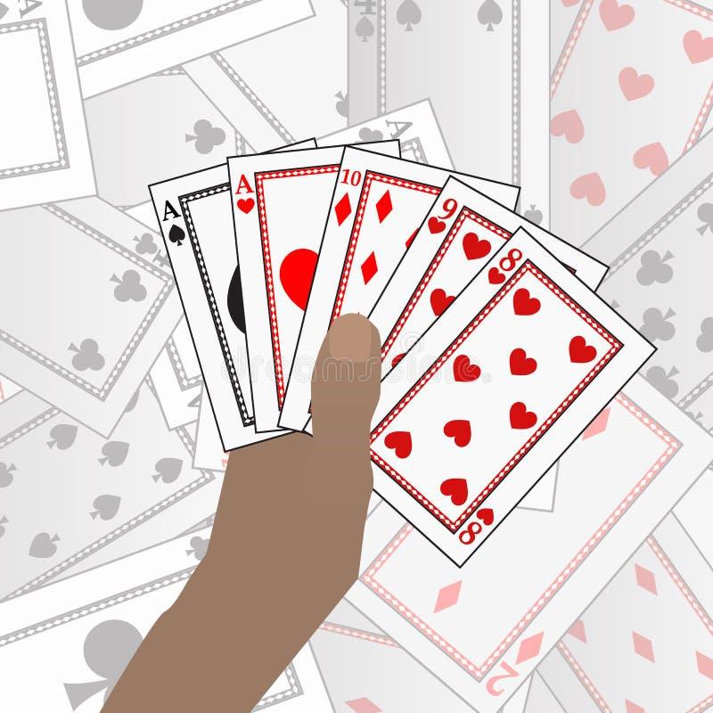 Carte della mazza della TENUTA delle mani Su un fondo della tavola di carta illustrazione vettoriale