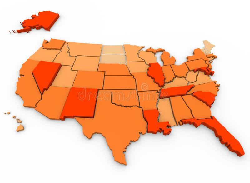 Carte des États-Unis de crimes violents per capita - illustration stock