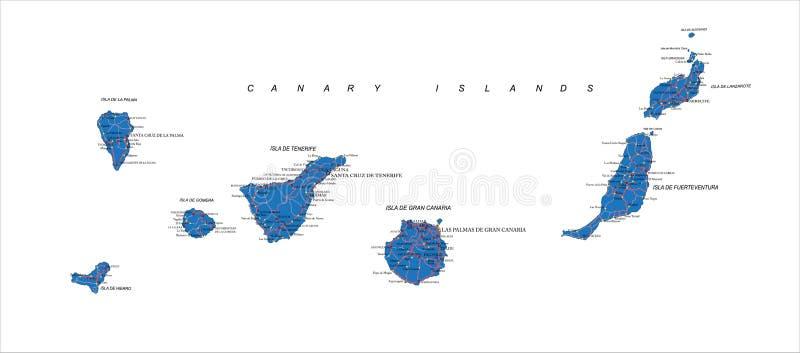 Carte des Îles Canaries illustration libre de droits