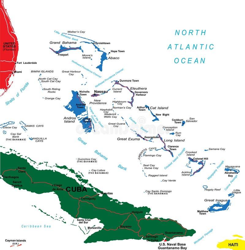 Carte des Bahamas illustration libre de droits