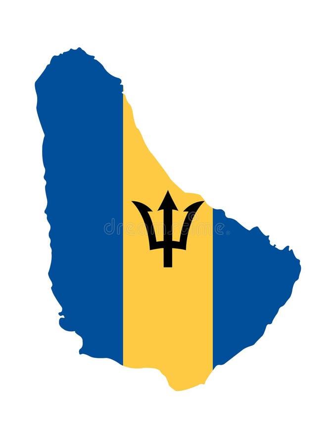 Carte des Barbade et drapeau - pays d'île dans la région des Caraïbes de l'Amérique du Nord illustration libre de droits