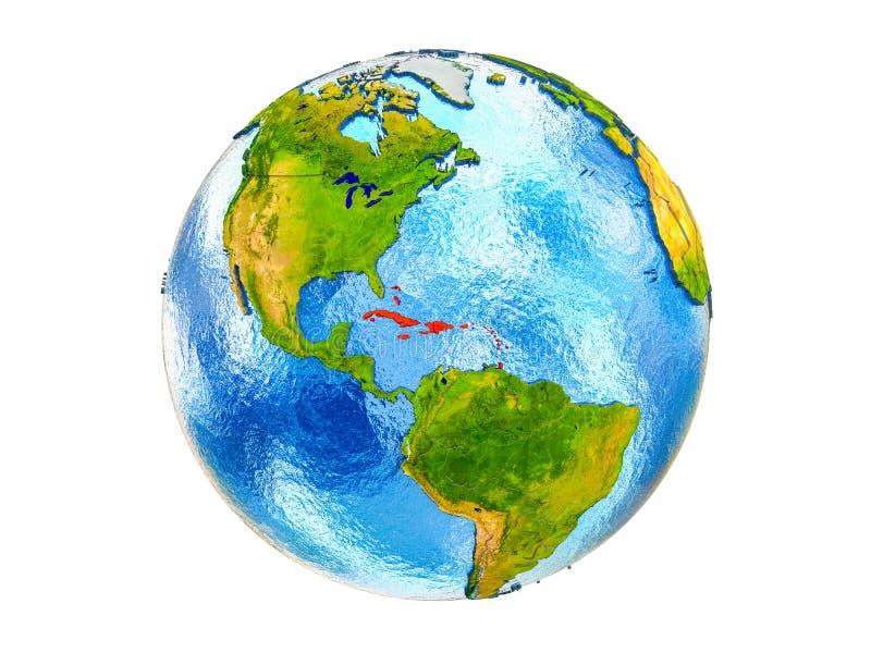 Carte des Caraïbe sur terre 3D d'isolement photographie stock libre de droits