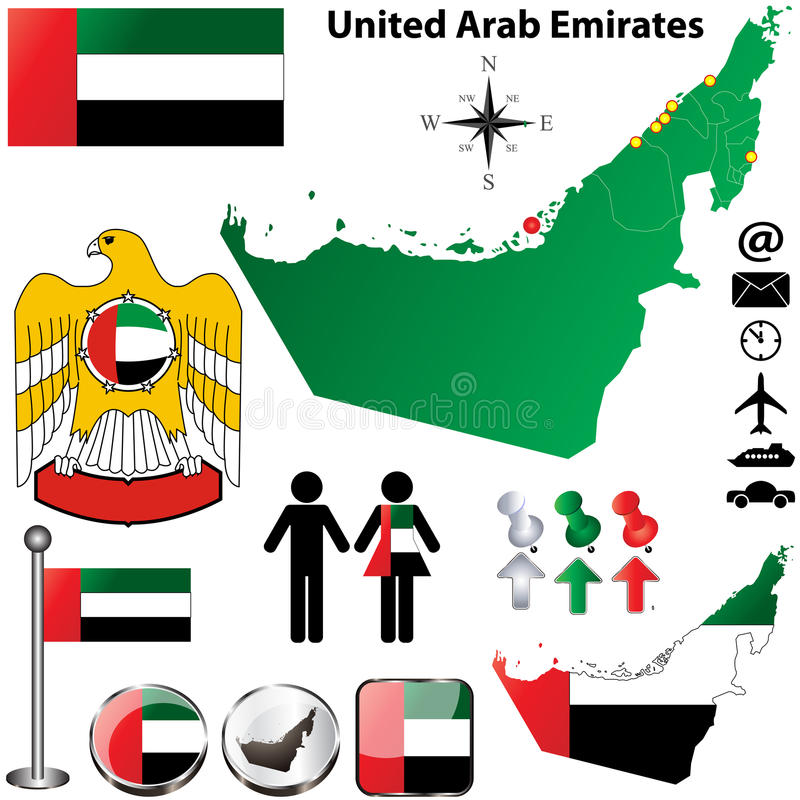 Carte des Emirats Arabes Unis illustration de vecteur