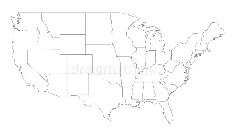 Carte des Etats-Unis illustration stock