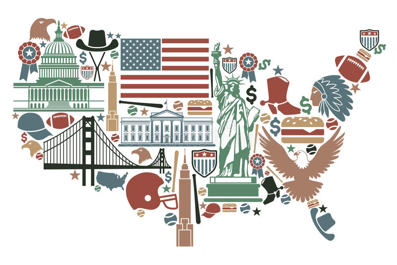 Carte des Etats-Unis illustration de vecteur