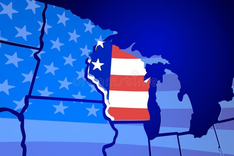 Carte Amerique Wisconsin.Carte Des Etats Unis Amerique De Drapeau Du Wisconsin Etats