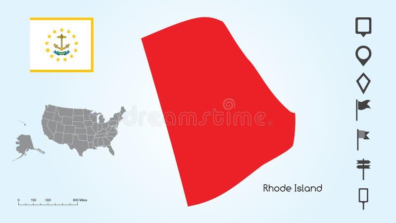 Carte des Etats-Unis avec l'état choisi de drapeau de Rhode Island And Rhode Island avec la collection de repère illustration stock
