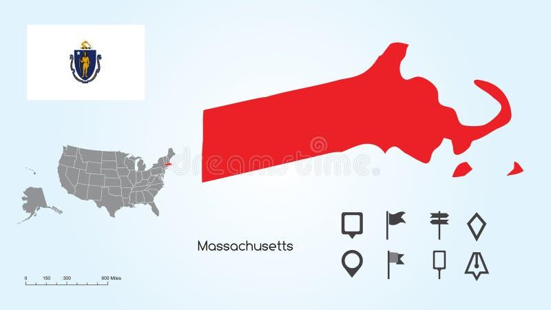 Carte des Etats-Unis avec l'état du Massachusetts choisi et le drapeau du Massachusetts avec la collection de repère illustration stock
